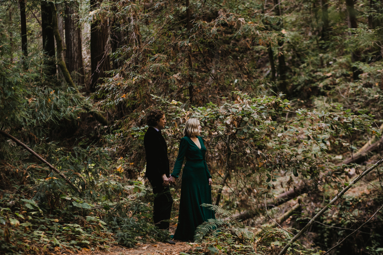 hip boho bride and groom in henry cowell redwoods