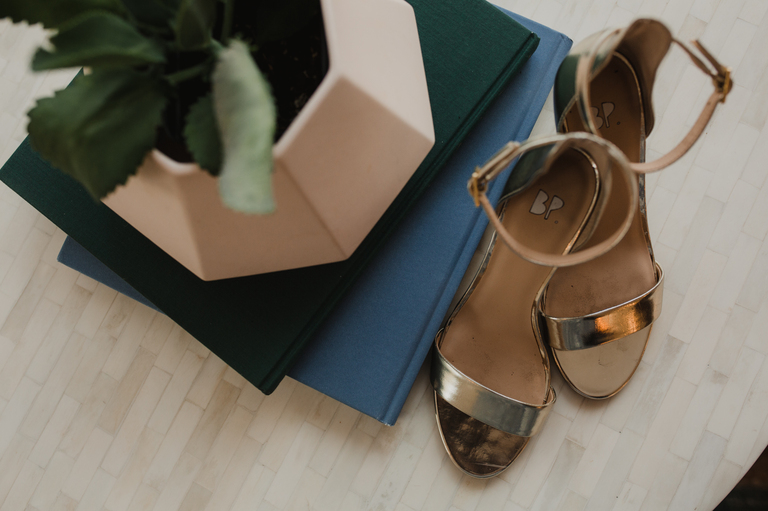 gold shoes for camino real ranch bride