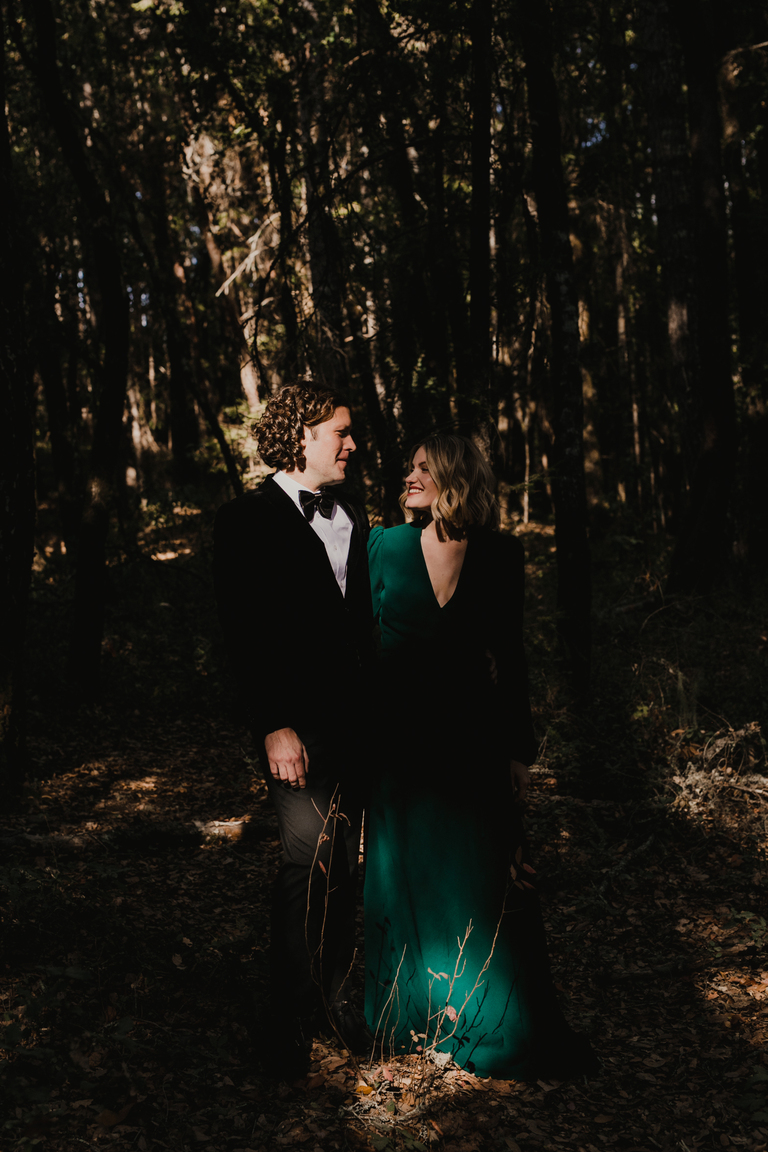 bride and groom in henry cowell state park