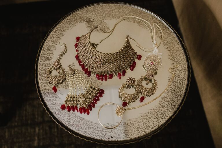 traditional red and gold jewerly accessories for indian wedding